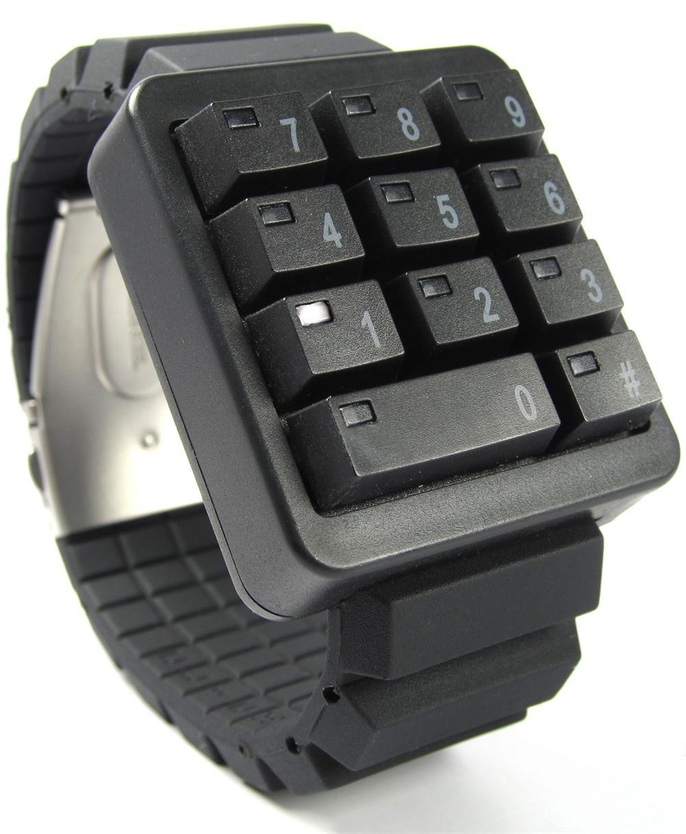 Click Black Keypad Hidden Time Watch Geekextreme