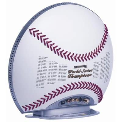 Baseball shaped TV with real leather